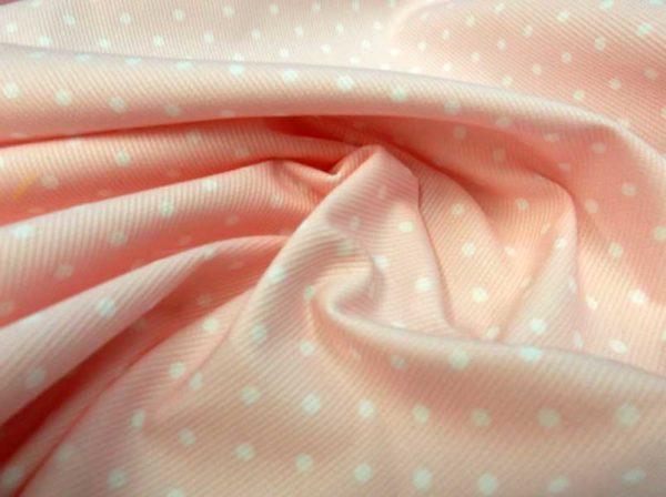 Piqué canutillo rosa con lunares blancos