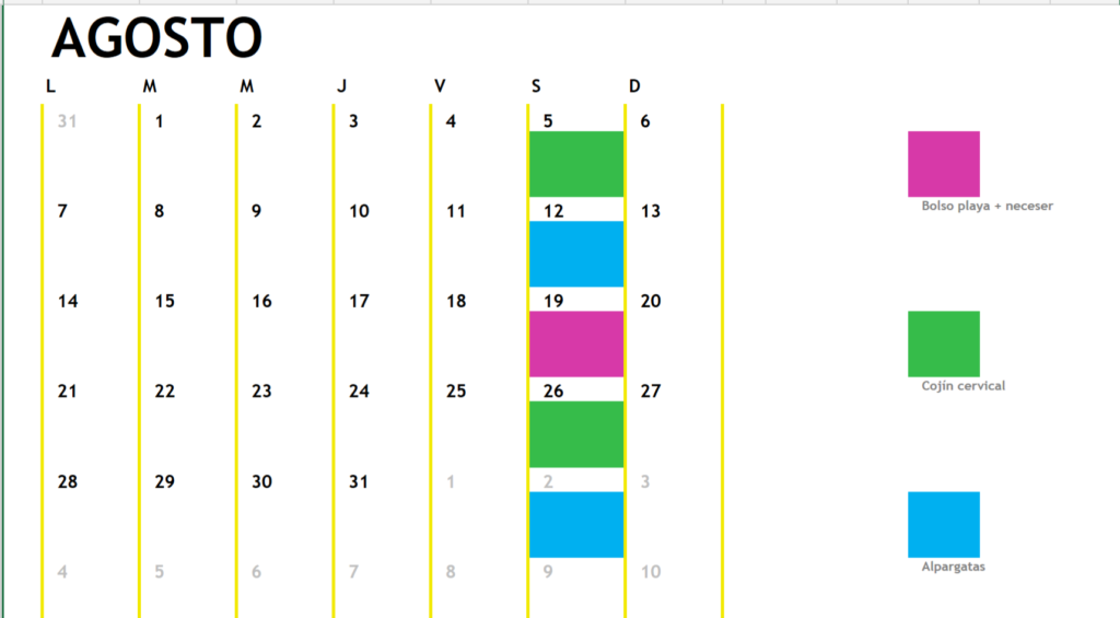 Calendario cursos mes de agosto