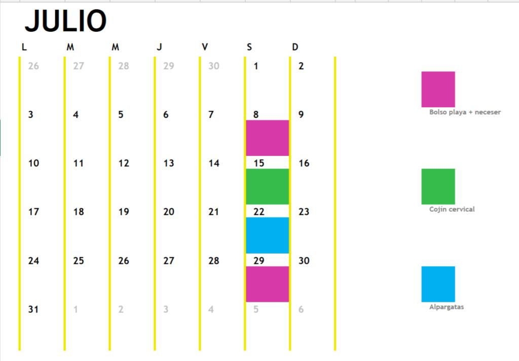 Calendario cursos mes de julio