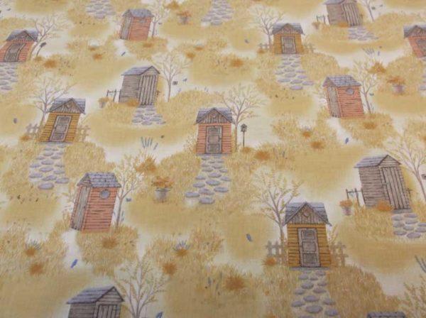 Tela de algodón con estampado de cabañas