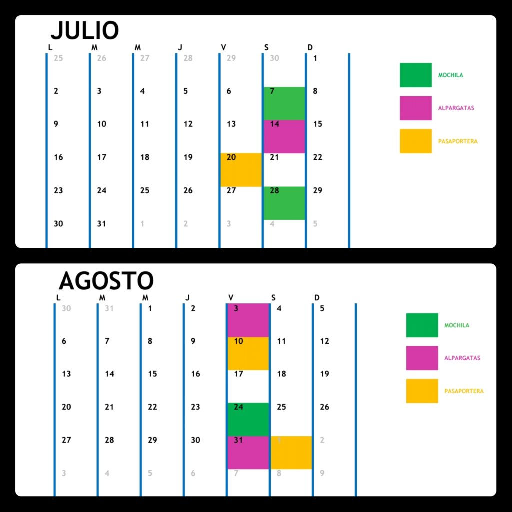 Calendario talleres verano 2018