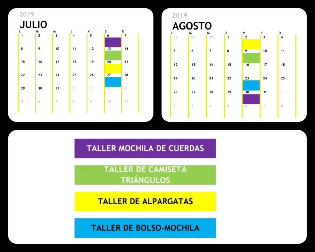 Calendario talleres de verano 2019