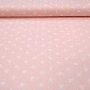 Tela estrellas blancas fondo rosa bebé de algodón