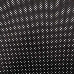 Tela lunares blancos y fondo negro de algodón