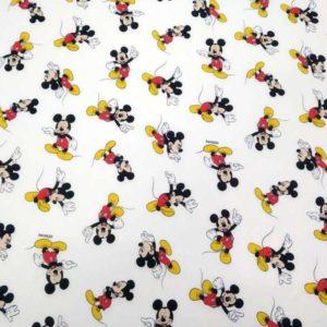 Tela Mickey Mouse fondo color blanco de algodón