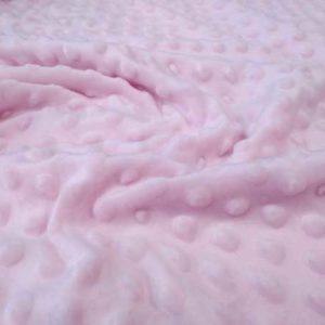 Tela minky topos color rosa bebé.