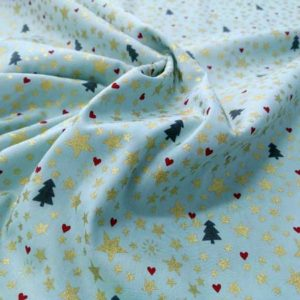 Tela estrellas y corazones de Navidad.Tela de algodón