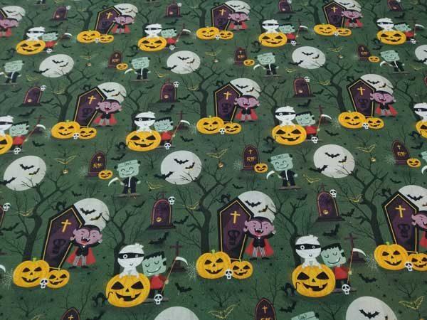 Tela Halloween con La Momia, Drácula y Frankenstein. Tela de algodón.