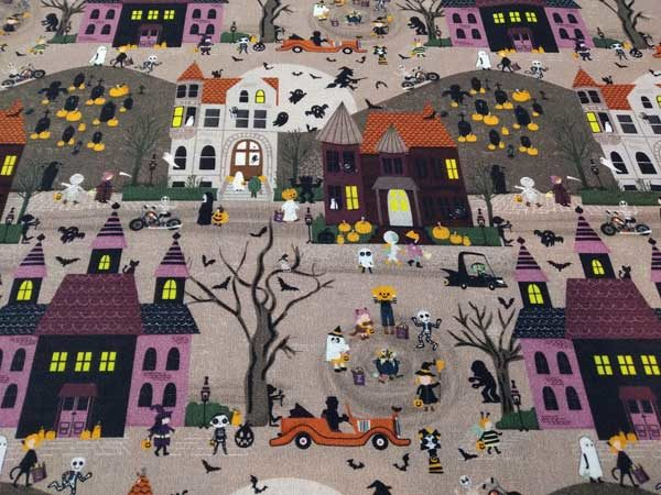 Tela Pueblo de Halloween, Tela de algodón